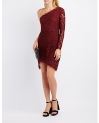 Charlotte Russe Lace One Shoulder Bodycon Dress