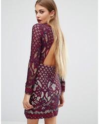Boohoo Lace Open Back Bodycon Mini Dress