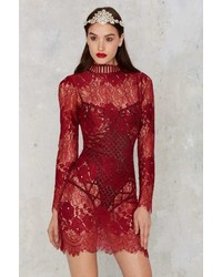 Factory Laced On A True Story Sheer Dress Burgundy