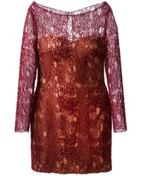 Mikael Mikl D Embroidered Lace Fitted Dress