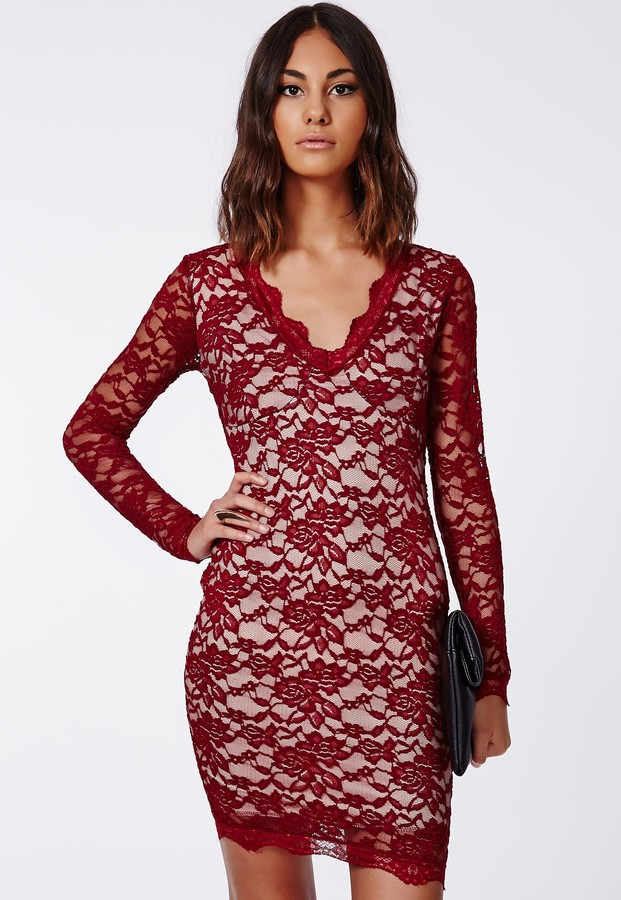 ... Missguided Cherry Lace Long Sleeve Plunge Neck Bodycon Dress Burgundy  ... b275ec187