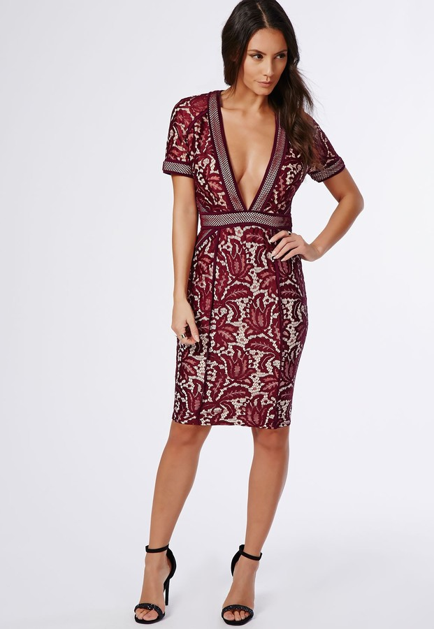 30 Missguided Jess Mixed Lace Deep V Midi Dress Burgundy