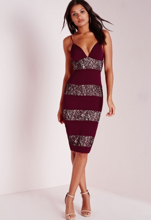 59 Missguided Lace Panel Midi Dress Burgundy