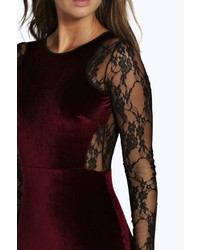 ab348888672 Boohoo Shea Velvet Lace Long Sleeve Bodycon Dress, $35 | BooHoo ...