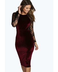 Boohoo Shea Velvet Lace Long Sleeve Bodycon Dress