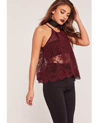 Missguided Halterneck Lace Crop Top Burgundy