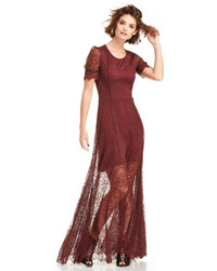Burgundy Lace Evening Dress