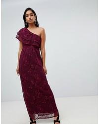 Vila One Shoulder Maxi Dress In Burgundy