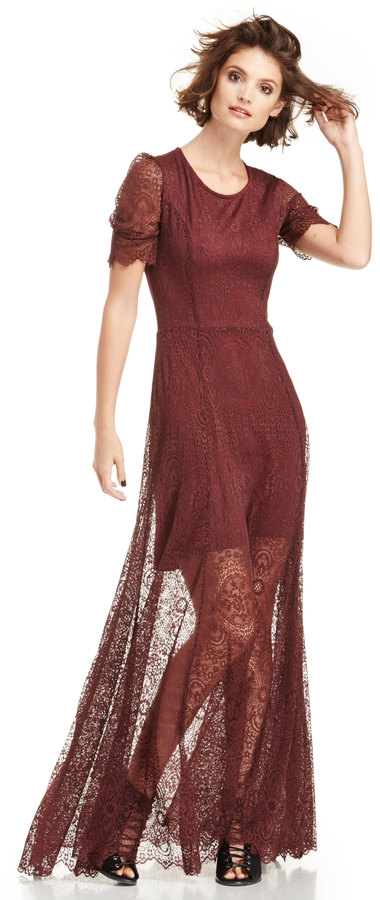 Nightcap Petite Jacquard Lace Gown In Wine 2 3 | Where to buy & how ...