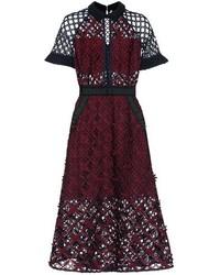Floral grid lace midi dress medium 6483054