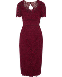 Mikl aghal open knit trimmed corded lace midi dress medium 6483058