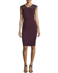 Burgundy Lace Sheath Dress