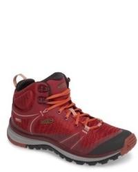 Burgundy lace up flat boots original 11408903