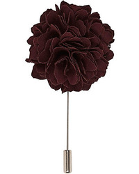 River Island Red Ruffle Rose Lapel Pin