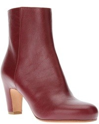 Burgundy Leather Ankle Boots