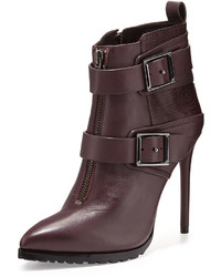BCBGMAXAZRIA Alec Leather High Heel Bootie Bordeaux