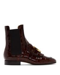 Chloé Burgundy Croc C Ankle Boots