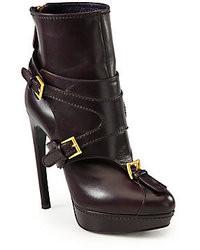 Alexander McQueen Leather Horn Heel Buckle Ankle Boots