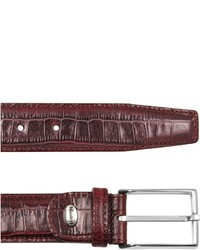 Burgundy croco stamped leather belt medium 148804