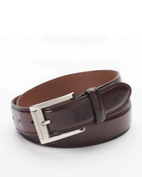 Izod Double Stitched Burgundy Leather Belt
