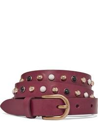 Isabel Marant Kinley Studded Leather Belt Burgundy