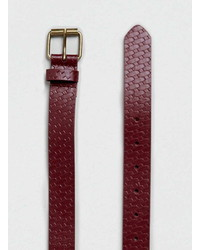 Topman Burgundy Embossed Belt