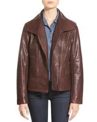 Bernardo Petite Wing Collar Leather Moto Jacket