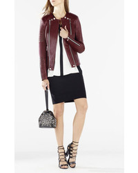 BCBGMAXAZRIA Blake Zip Front Quilted Leather Jacket