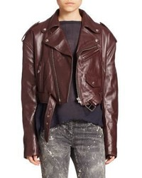 Faith Connexion Cropped Leather Biker Jacket