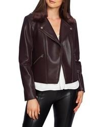 1 STATE Faux Fur Collar Moto Jacket