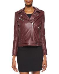 IRO Jone Lambskin Leather Jacket Burgundy