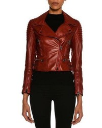 Tom Ford Lamb Leather Moto Jacket Scarlet