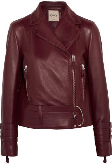 Tod's Leather Biker Jacket Burgundy