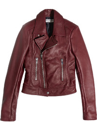 Balenciaga Leather Biker Jacket Claret