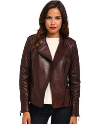 Vince Camuto Leather Moto Jacket With Quilted Sleeves G8941