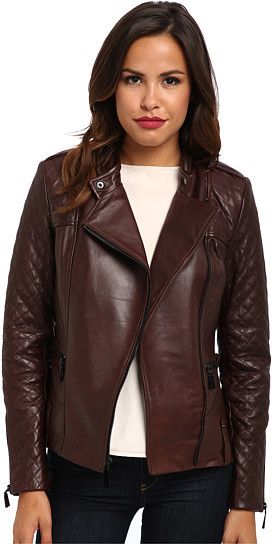 Vince Camuto Leather Moto Jacket With Quilted Sleeves G8941 Where
