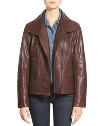 Bernardo Petite Wing Collar Leather Moto Jacket