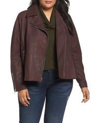 Tahari Plus Size Skylar Leather Moto Jacket