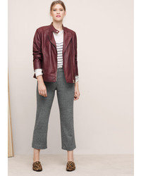 Violeta BY MANGO Zip Detail Leather Biker Jacket