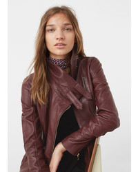 Mango Zip Detail Leather Biker Jacket