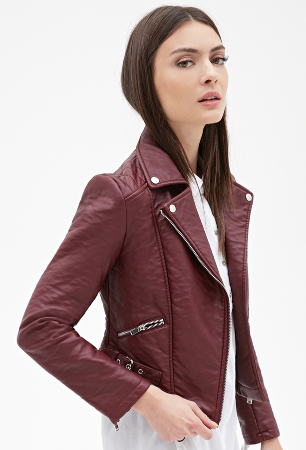 classic style skilful manufacture hot-selling Zippered Faux Leather Moto Jacket