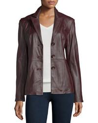 Neiman Marcus Basic Solid Leather Blazer