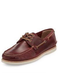Frye Sully Leather Boat Shoe Burgundy