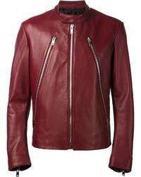 Burgundy Leather Bomber Jacket