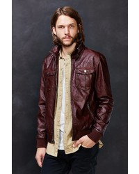 Urban Outfitters Charles 12 Faux Leather Zip Collar Moto Jacket