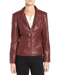 Cole haan signature faux leather notched wing collar jacket medium 1160090
