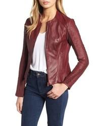 LaMarque Collarless Pleated Sleeve Leather Jacket