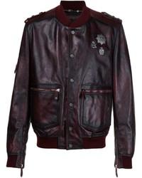 Philipp Plein Distressed Leather Bomber