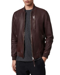 AllSaints Kino Slim Fit Leather Bomber Jacket