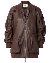 Fendi Oversized Ruched Perforated Leather Bomber Jacket
